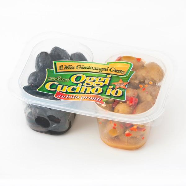Duetto dolce e piccante con olive verdi piccanti e olive nere dolci confezione da 320g con doppio scomparto.