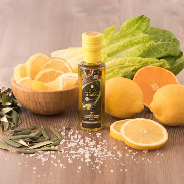 Condimento a base di Olio ExtraVergine di oliva aromatizzato al limone confezionato in bottiglia di vetro da 0,25lt