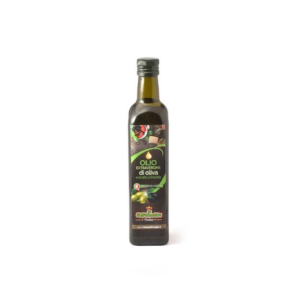 Olio extravergine di oliva confezionato in bottiglia da 0,25 litri