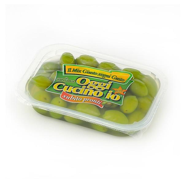 Olive verdi dolci giganti in salamoia confezionate in vaschetta da 400g peso sgocciolato 250g.