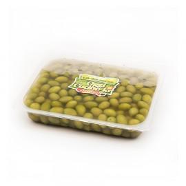 Olive verdi dolci giganti in salamoia confezionate in vaschettone da 3000g peso sgocciolato 2000g.