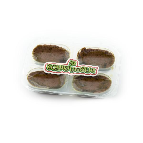 Patè di olive nere in olio extra vergine di oliva, confezionato in vaschette da 140g.