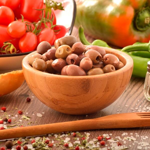 Olive nere denocciolate in salamoia vaso di vetro da 160g peso netto sgocciolato Biologiche