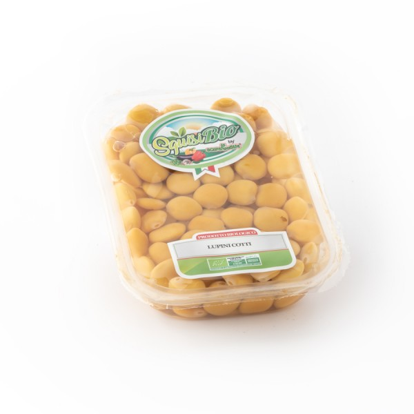 Lupini cotti dolci biologici in salamoia confezionati in vaschetta Linea BIO peso totale 400g - 250g sgocc.