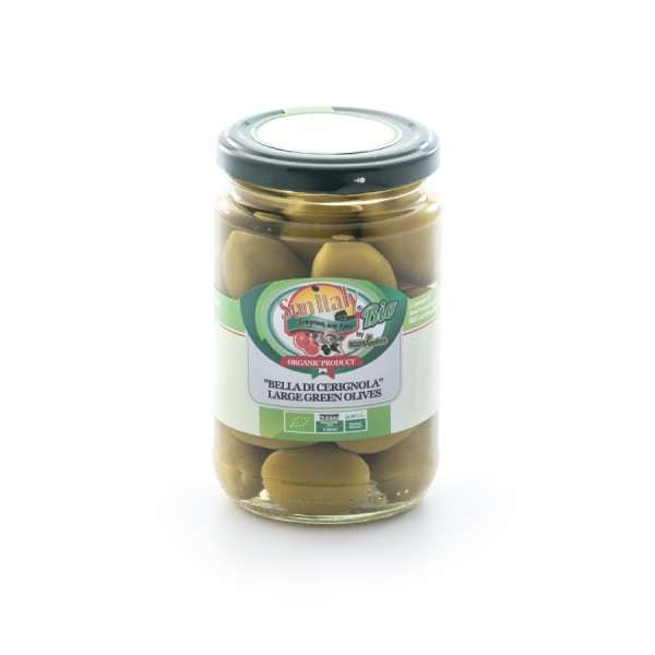"""Organic """"Bella di Cerignola"""" large green olives in brine packed in a glass jar - drained weight 170g"""