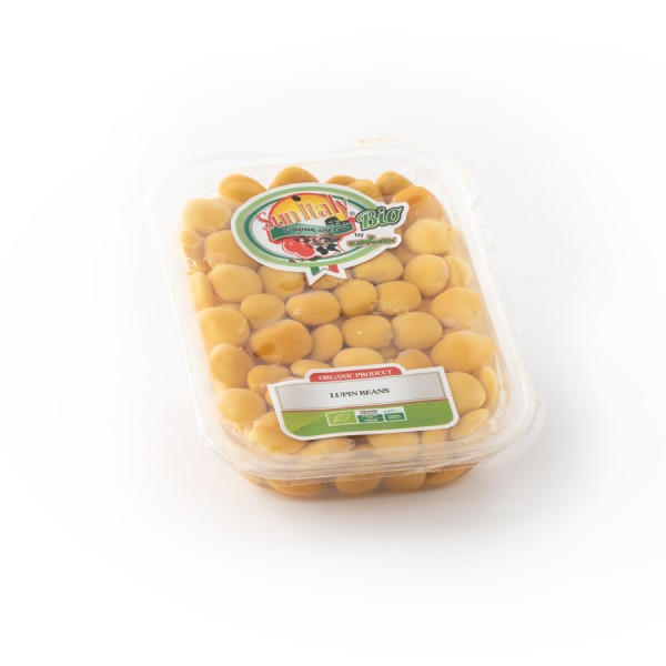 Organic Lupin beans in brine packed in a plastic tray BIO-ORGANIC line total weight 400g - drained weight 250g