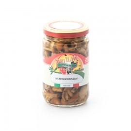 Mushrooms salad in sunflower seed oil  packed in glass jar STANDARD line total weight 280g - drained weight 190g