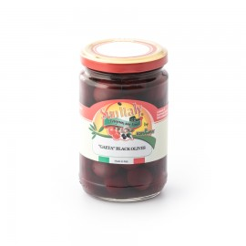 """""""Gaeta"""" black olives in brine packed in a glass jar STANDARD line total weight 300g - drained weight 170g"""