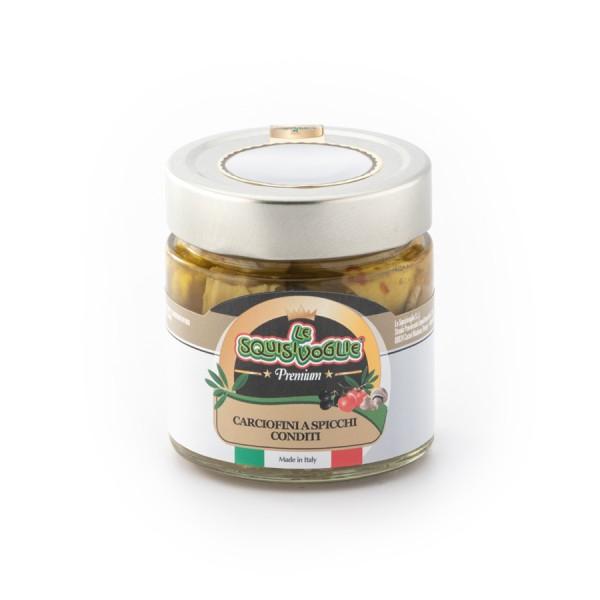 Carciofini a spicchi in olio di semi di girasole e olio EVO confezionati in vasi di vetro linea PREMIUM peso totale 225g - 140g sgocc.