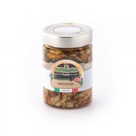 Misto funghi in olio di semi di girasole ed olio EVO confezionati in vasi di vetro linea PREMIUM peso totale 320g - 210g sgocc.