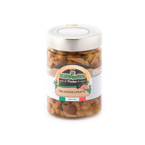 Melanzane a filetti in olio di semi di girasole ed olio EVO confezionate in vaso di vetro linea PREMIUM peso totale 320g - 200g sgocc.
