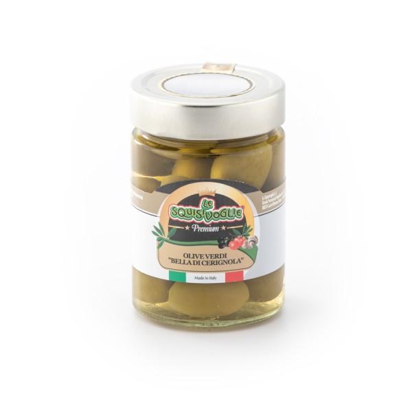 """Olive verdi """"Bella di Cerignola"""" in salamoia confezionate in vaso di vetro linea PREMIUM peso totale 330g - 180g sgocc."""