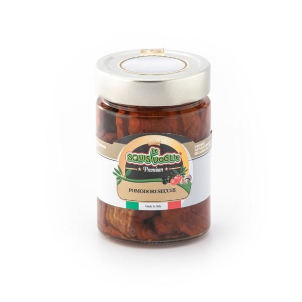 Pomodori secchi in olio di semi di girasole ed olio EVO confezionati in vaso di vetro linea PREMIUM peso totale 320g - 190 sgocc.