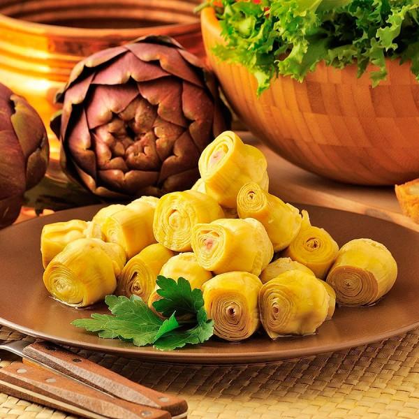 Carciofini interi in olio di semi di girasole  confezionati in vaso di vetro linea STANDARD peso totale 280g - 180 sgocc.