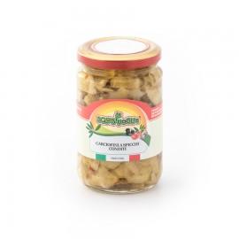 Carciofini a spicchi in olio di semi di girasole confezionati in vasi di vetro linea STANDARD peso totale 280g - 180g sgocc.