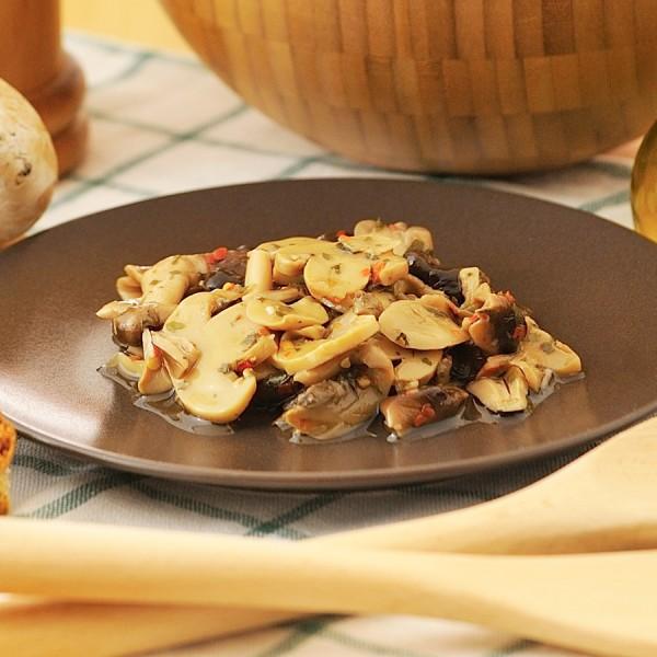 Misto funghi in olio di semi di girasole  confezionati in vasi di vetro linea STANDARD peso totale 280g - 190g sgocc.