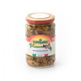Melanzane a filetti in olio di semi di girasole confezionate in vaso di vetro linea STANDARD peso totale 290g - 190g sgocc.