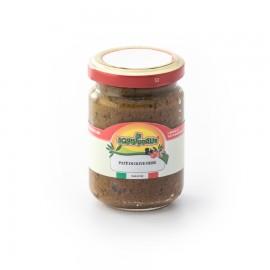 Paté di olive nere confezionato in vaso di vetro linea STANDARD peso totale 140g