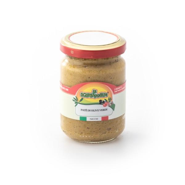 Paté di olive verdi confezionato in vaso di vetro linea STANDARD peso totale 160g
